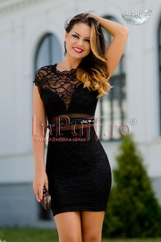 rochie de seara scurta din dantela neagra