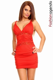 rochie rosie eleganta scurta