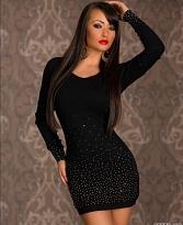 rochie negra cu maneci lungi