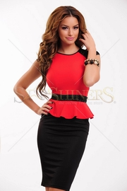 rochie office rosu cu negru