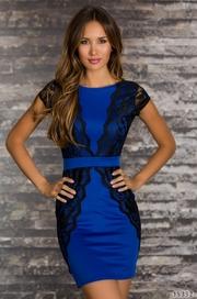 rochie scurta de culoarea albastra
