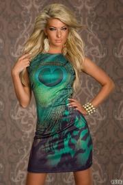 rochie verde cu imprimeu