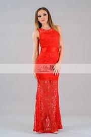 rochii de seara lungi din dantela rosie