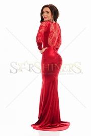 rochii de seara lungi rosii din dantela