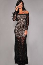 rochii lungi din dantela neagra
