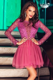 rochii de seara cu maneca lunga roz
