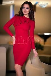 rochii tricotate lungi rosii