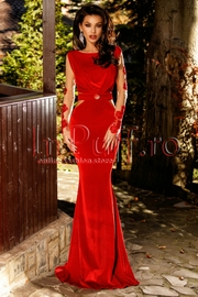 rochie de seara lunga de catifea rosie