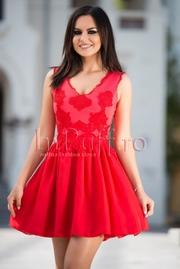 rochii de seara scurte rosii stil printesa
