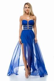rochii albastre lungi cu crapatura pe picior