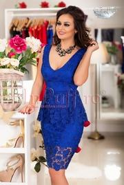 rochii albastre scurte elegante din dantela