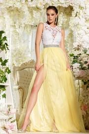 rochii galbene lungi cu crapatura pe picior