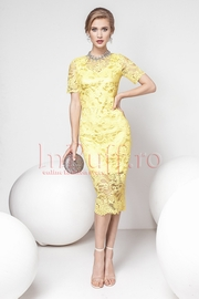 rochii galbene lungi elegante din dantela