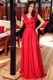 rochii rosii lungi din voal