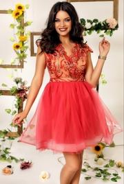 rochii rosii scurte cu tull