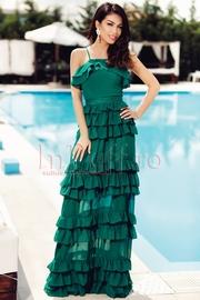 rochii verzi lungi elegante din voal